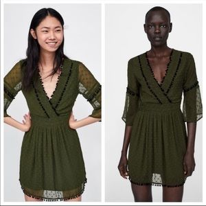 Zara Swiss Dot Pom Pom Dress